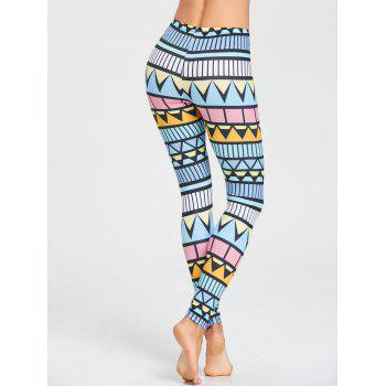 High Rise Triangle Printed Workout Leggings - multicolor M