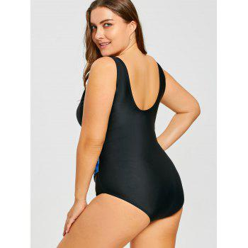 Graphic Plus Size Tank One Pieces Swimsuit - BLACK BLACK