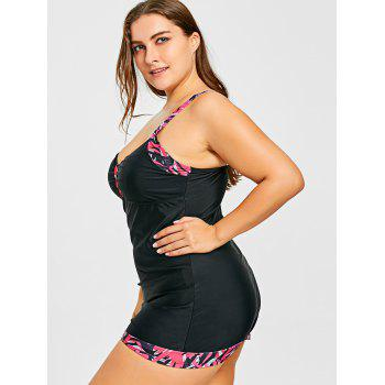 Bowknot Plus Size Blouson Tankini Set - BLACK / ROSE 5XL