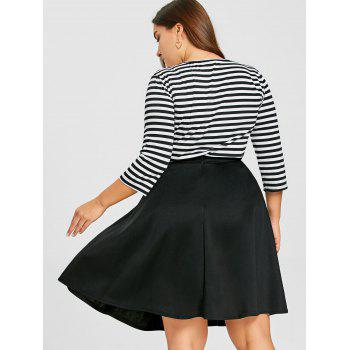 Striped Top with Plus Size Skirt - BLACK 5XL