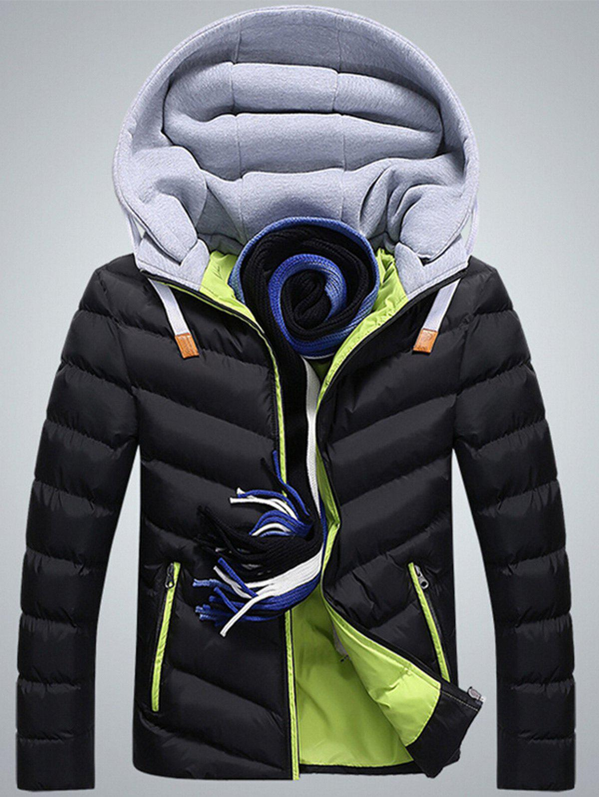 Lightweight Hooded Packable Puffer Jacket - BLACK / GREEN 4XL