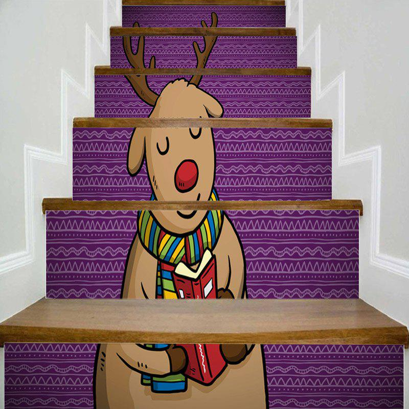 Cartoon Christmas Deer Pattern Decorative Stair Stickers sweet branch bird pattern removeable toilet wall sticker