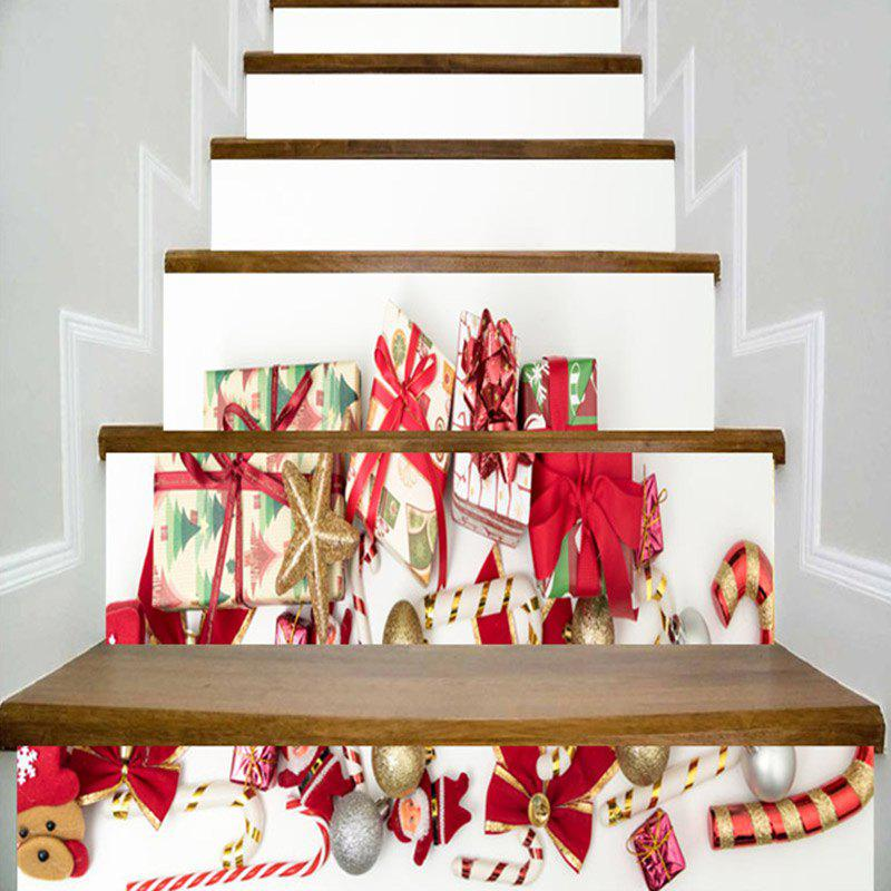 Christmas Elements Gift Printed Decorative Stair Stickers - WHITE 100*18CM*6PCS