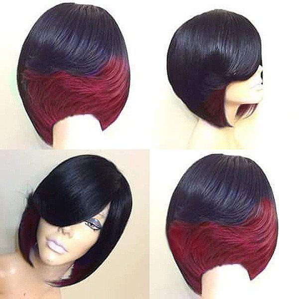 Short Side Bang Straight Feathered Bob Synthetic Wig - WINE RED