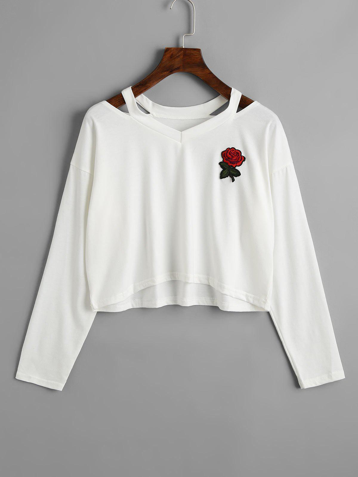 Rose Embroidered Patches Cold Shoulder Sweatshirt - WHITE L