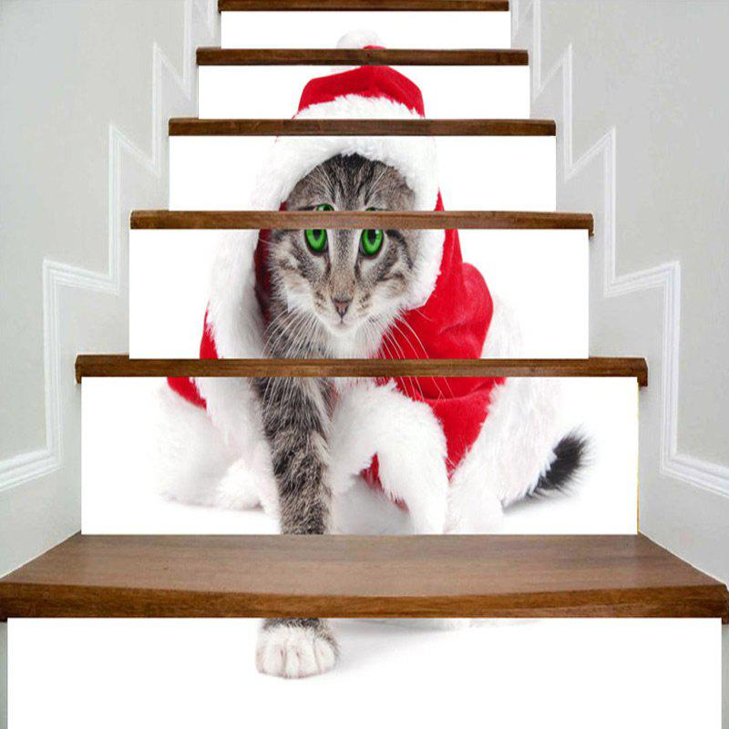 Cat Wearing Christmas Clothes Printed Decorative Stair Stickers - WHITE 100*18CM*6PCS