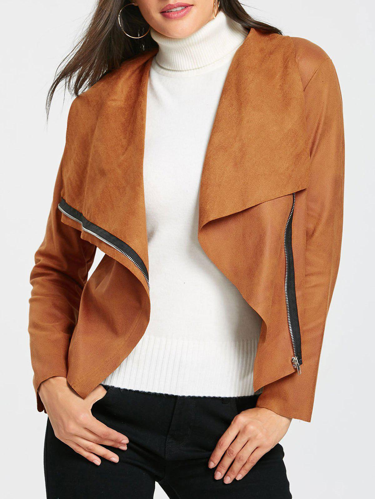 Suede Cropped Jacket  - BROWN S