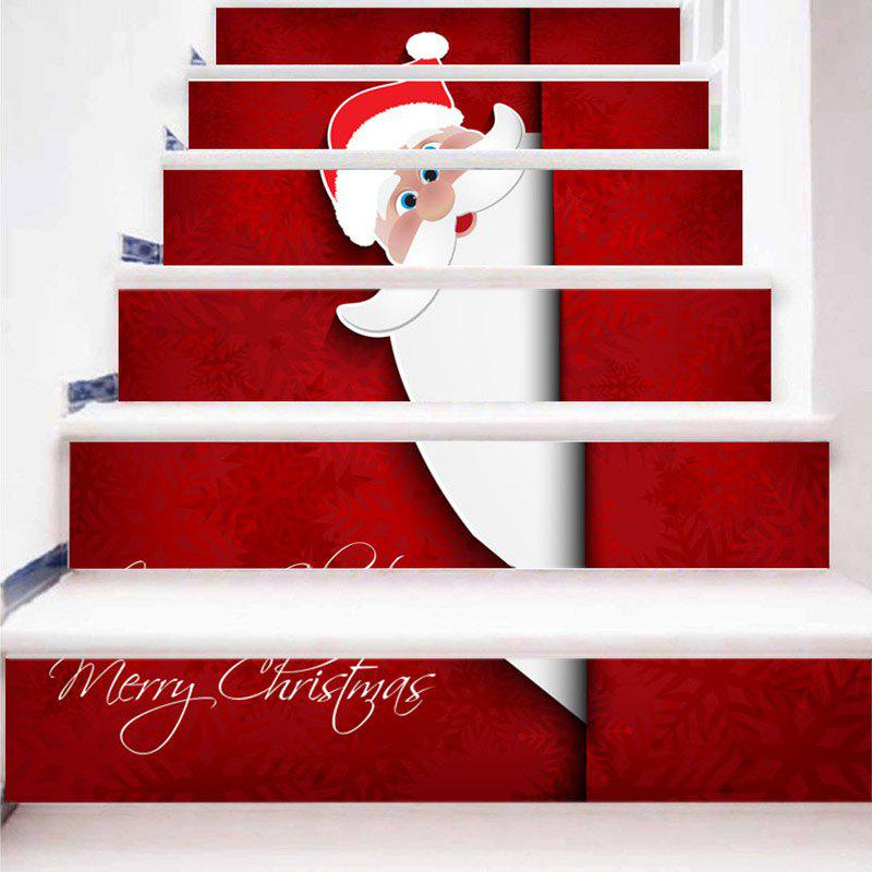 Merry Christmas Santa Claus Pattern Stair Stickers - RED/WHITE 100*18CM*6PCS