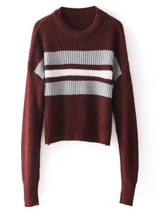 Stripes Panel Crew Neck Pullover Sweater - WINE RED ONE SIZE