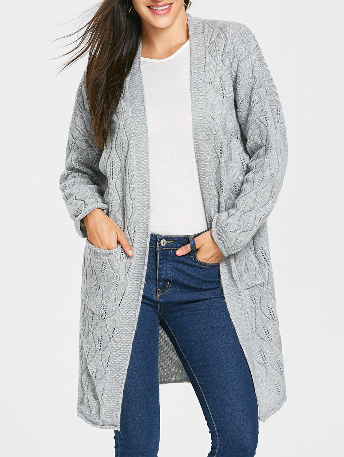 Pockets Open Front Cable Knit Cardigan, LIGHT GREY, ONE SIZE in ...