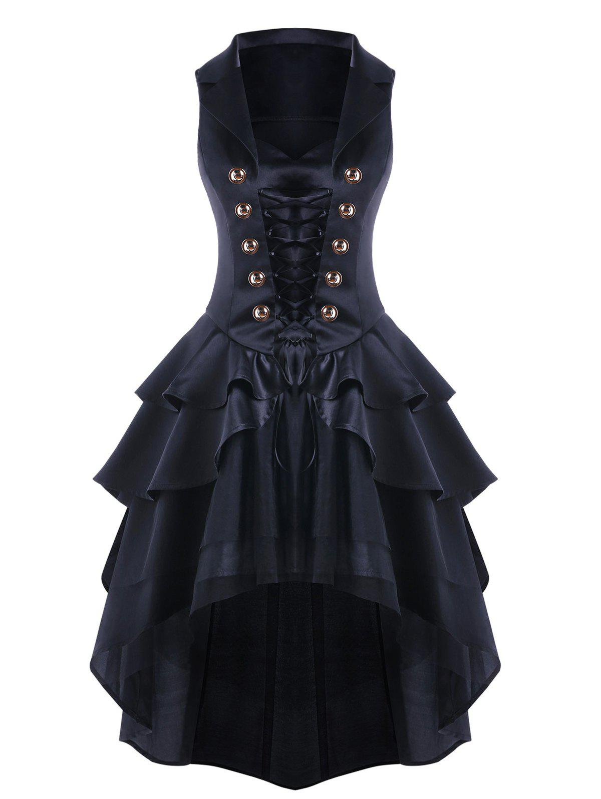 Lace Up High Low Layered Dress - BLACK L