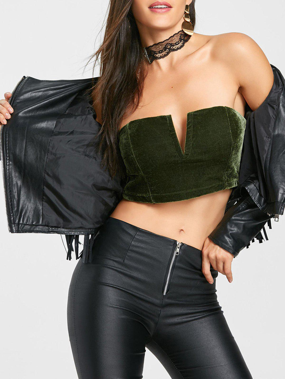 V Cut Velvet Tube Crop Top - GREEN S