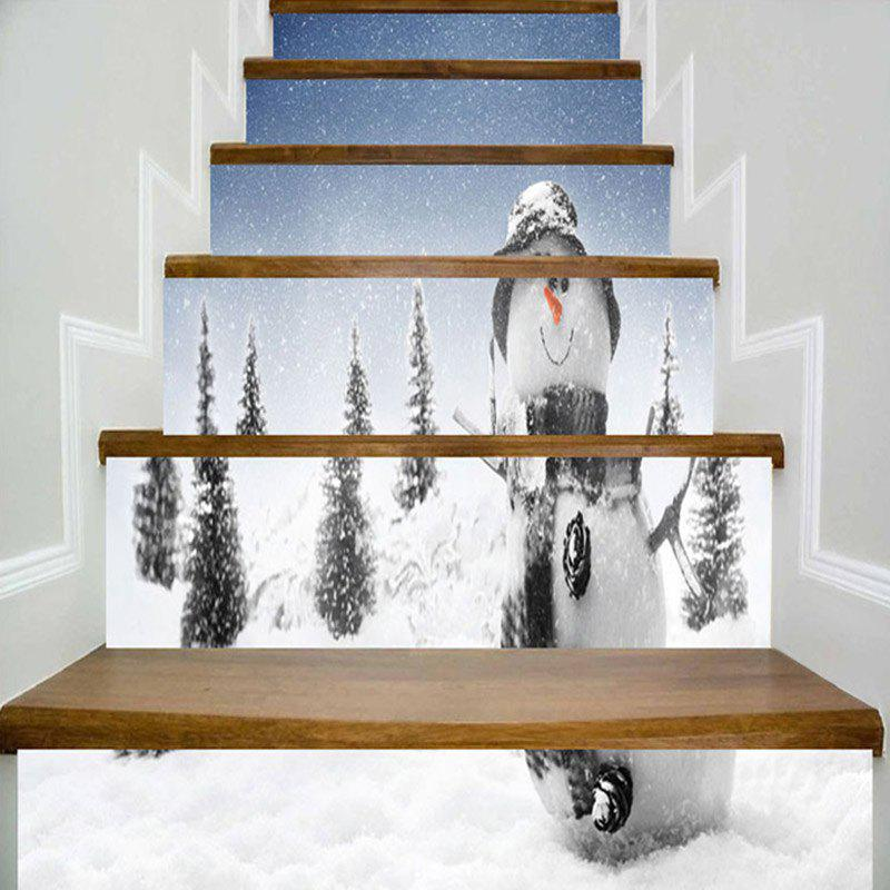 Christmas Snowman Snowscape Pattern Stair Stickers christmas snowman pattern door stickers