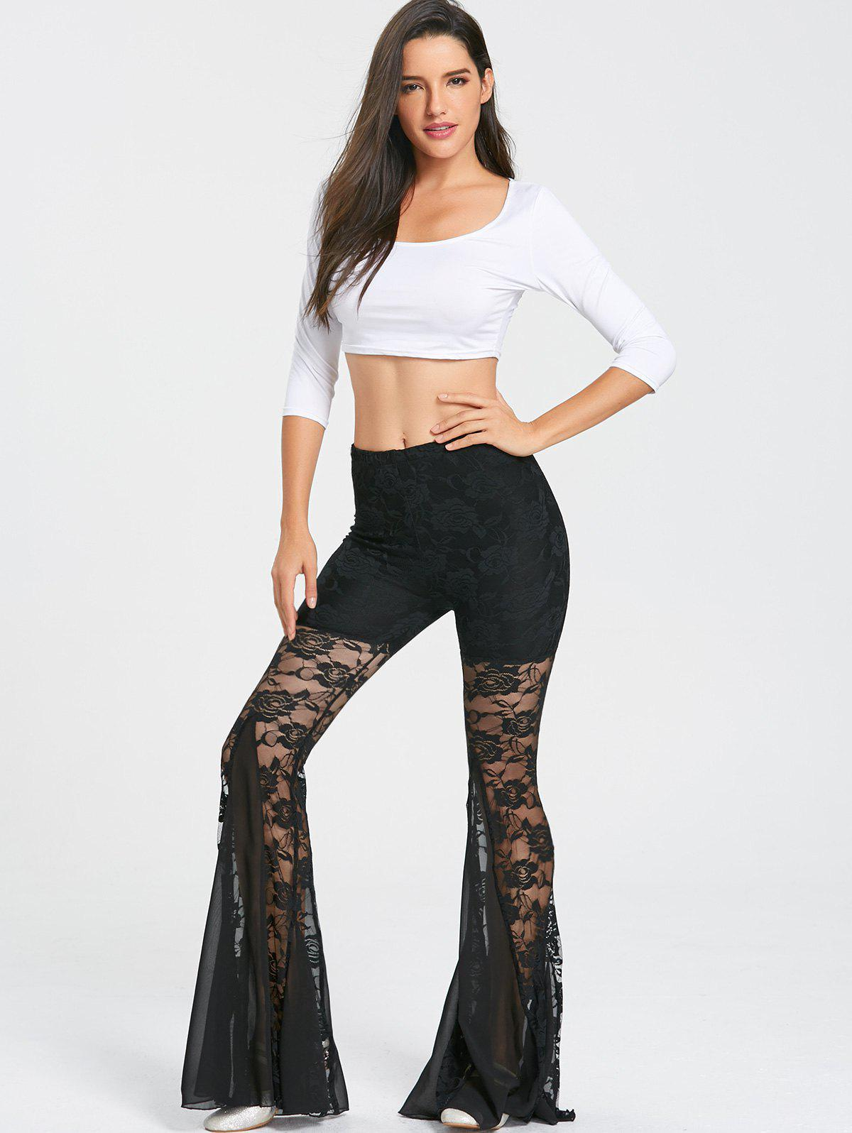 Lace Trim Dance Flare Pants - BLACK M