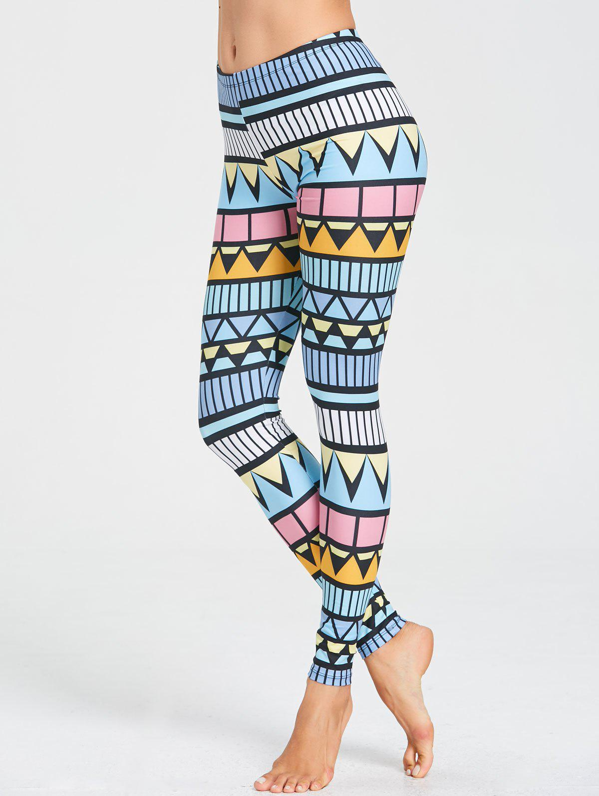 High Rise Triangle Printed Workout Leggings - multicolor XL