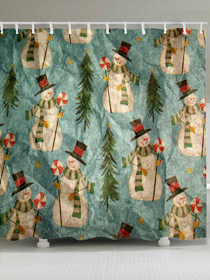 Christmas Snowmen Candies Patterned Shower Curtain forest snowscape patterned shower curtain