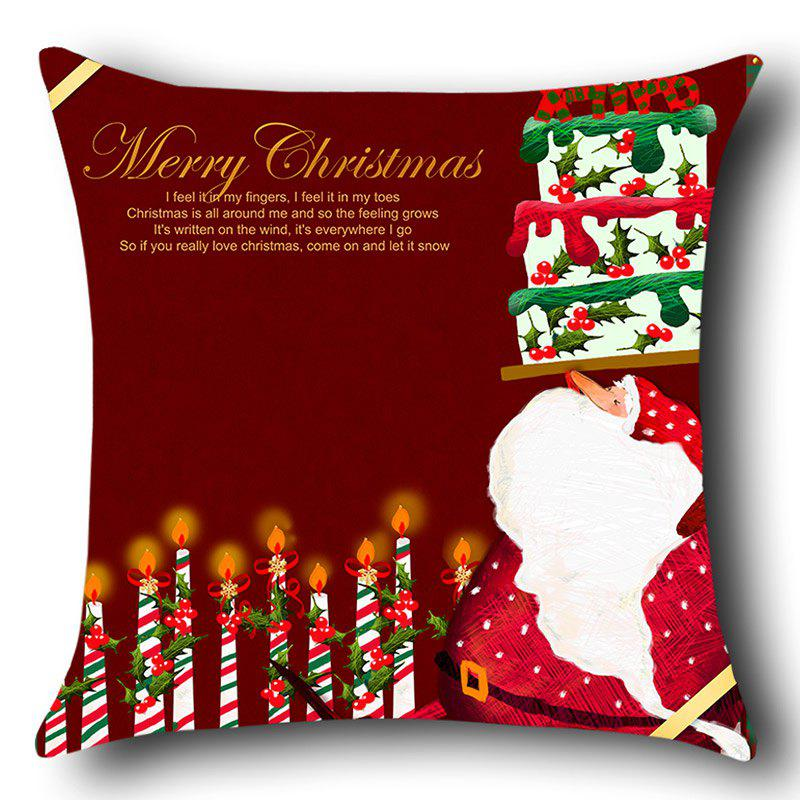 Santa Claus Cake And Candles Pattern Throw Pillow Case - RED W12 INCH * L20 INCH