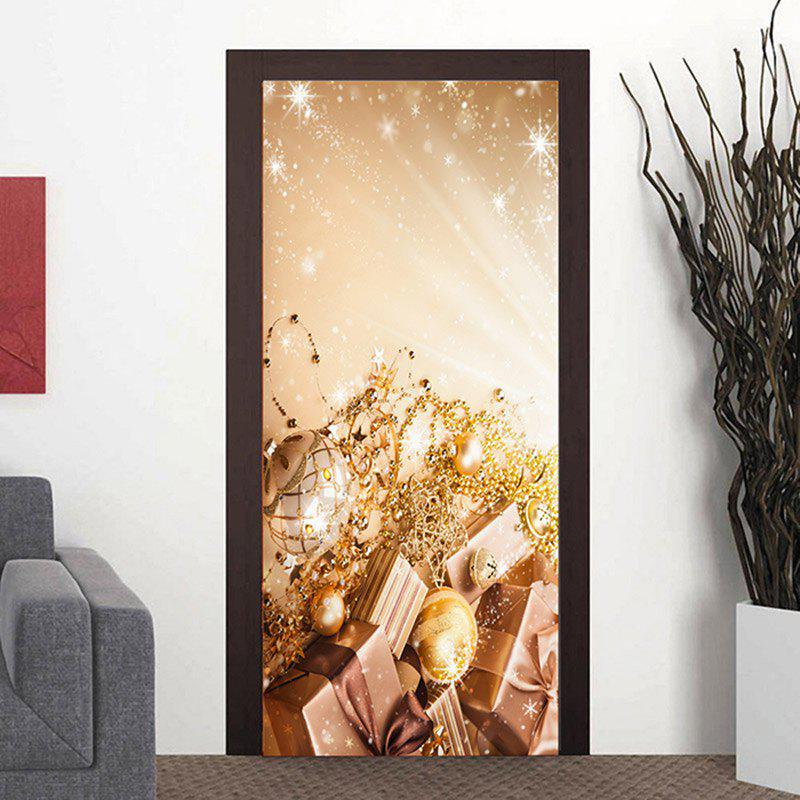 Christmas Gifts and Balls Pattern Door Decor Stickers - CHAMPAGNE 38.5*200CM*2PCS