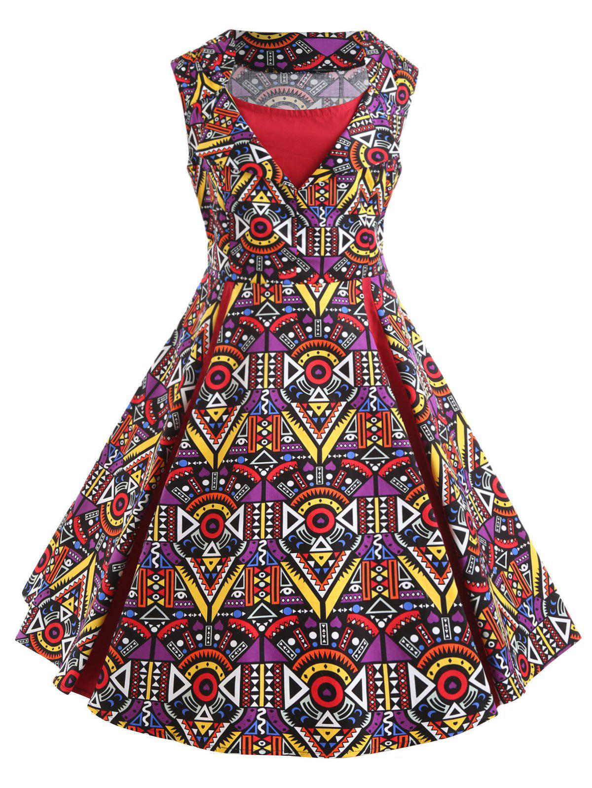 Plus Size Poker Print 50s Vintage Dress - RED 5XL