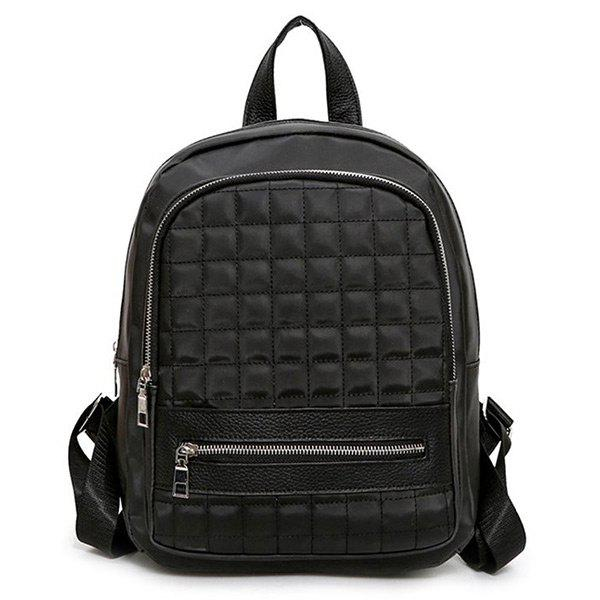 Color Block Quilted Backpack With Handle - BLACK