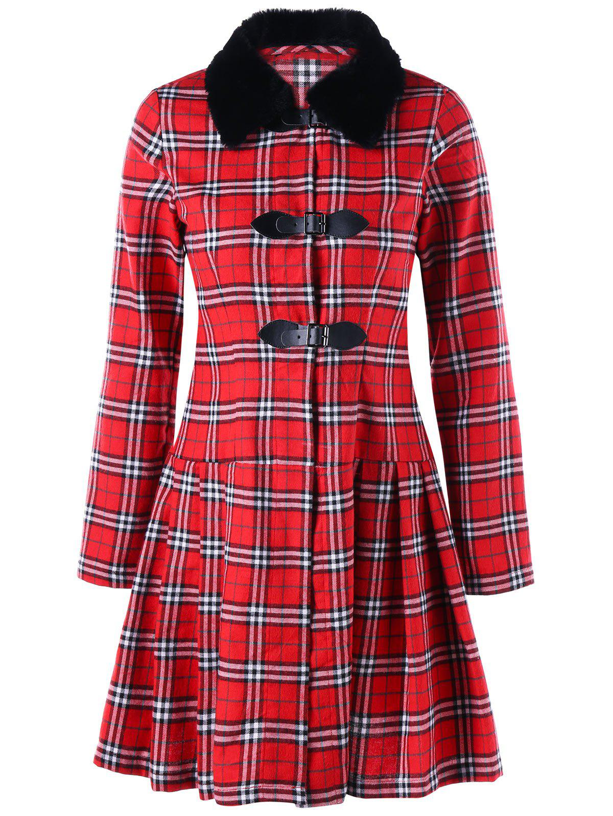 Plus Size Plaid Longline Skirted Coat - RED 3XL