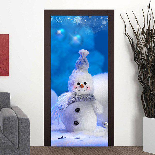 Cute Christmas Snowman Pattern Door Art Stickers christmas snowman pattern door stickers