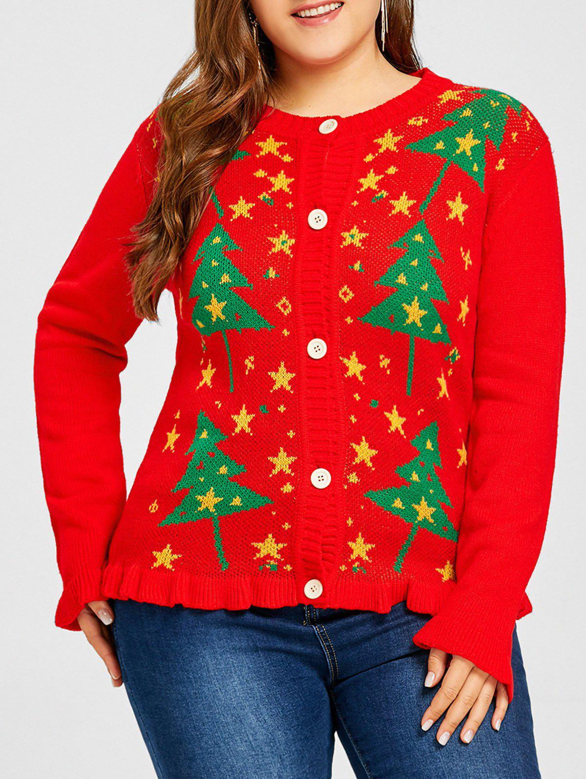 Plus Size Christmas Tree Star Jacquard Ruffle Cardigan - RED 2XL