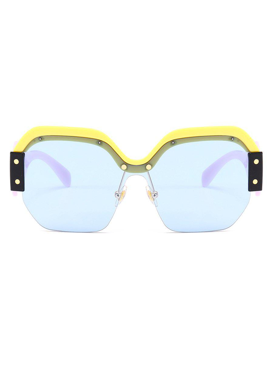 Anti-fatigue Semi-Rimless Decorated Square Sunglasses - LIGHT BLUE