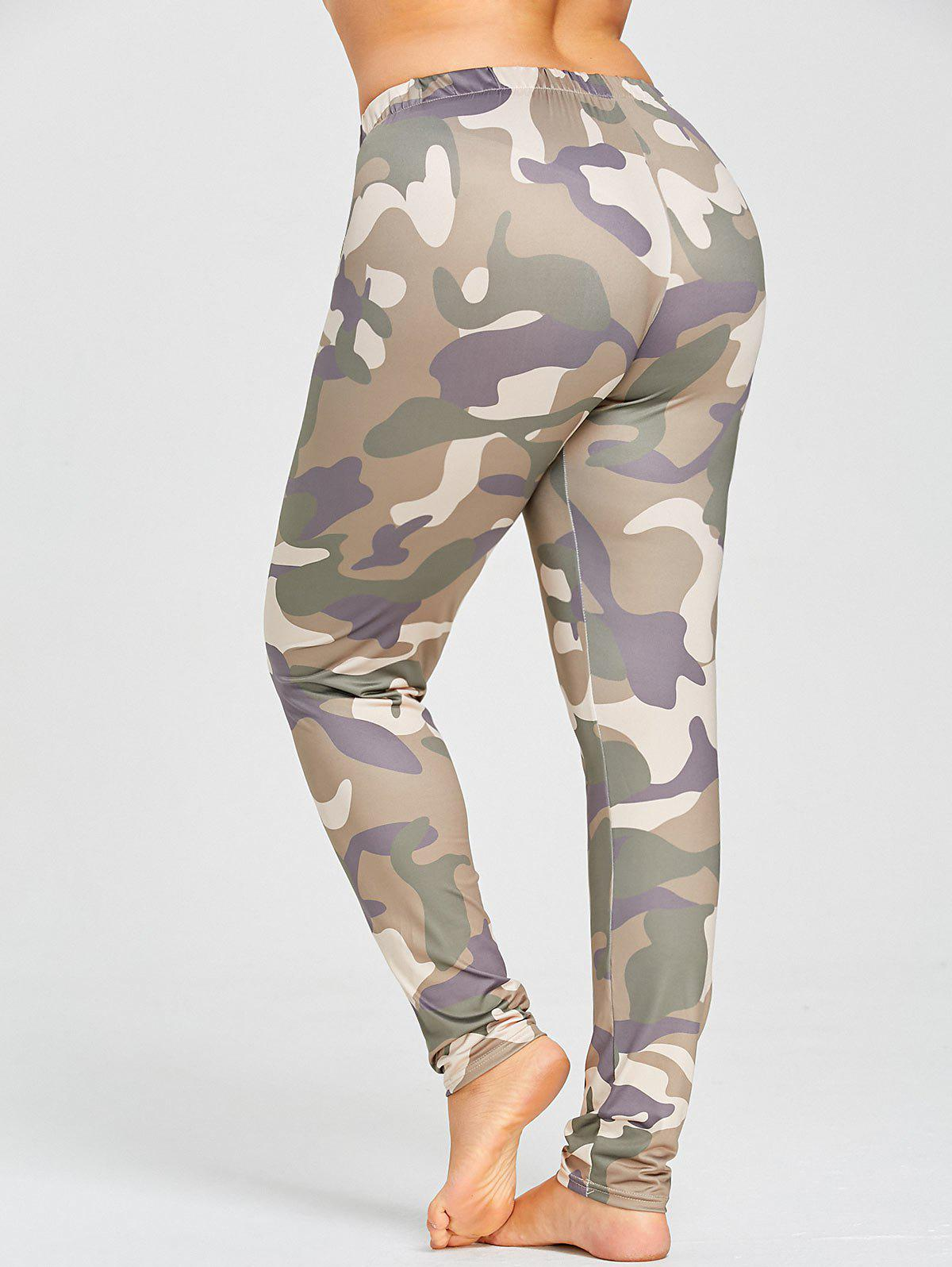 Plus Size Camo Printed Slim Skinny Pants plus size cutout skinny pants
