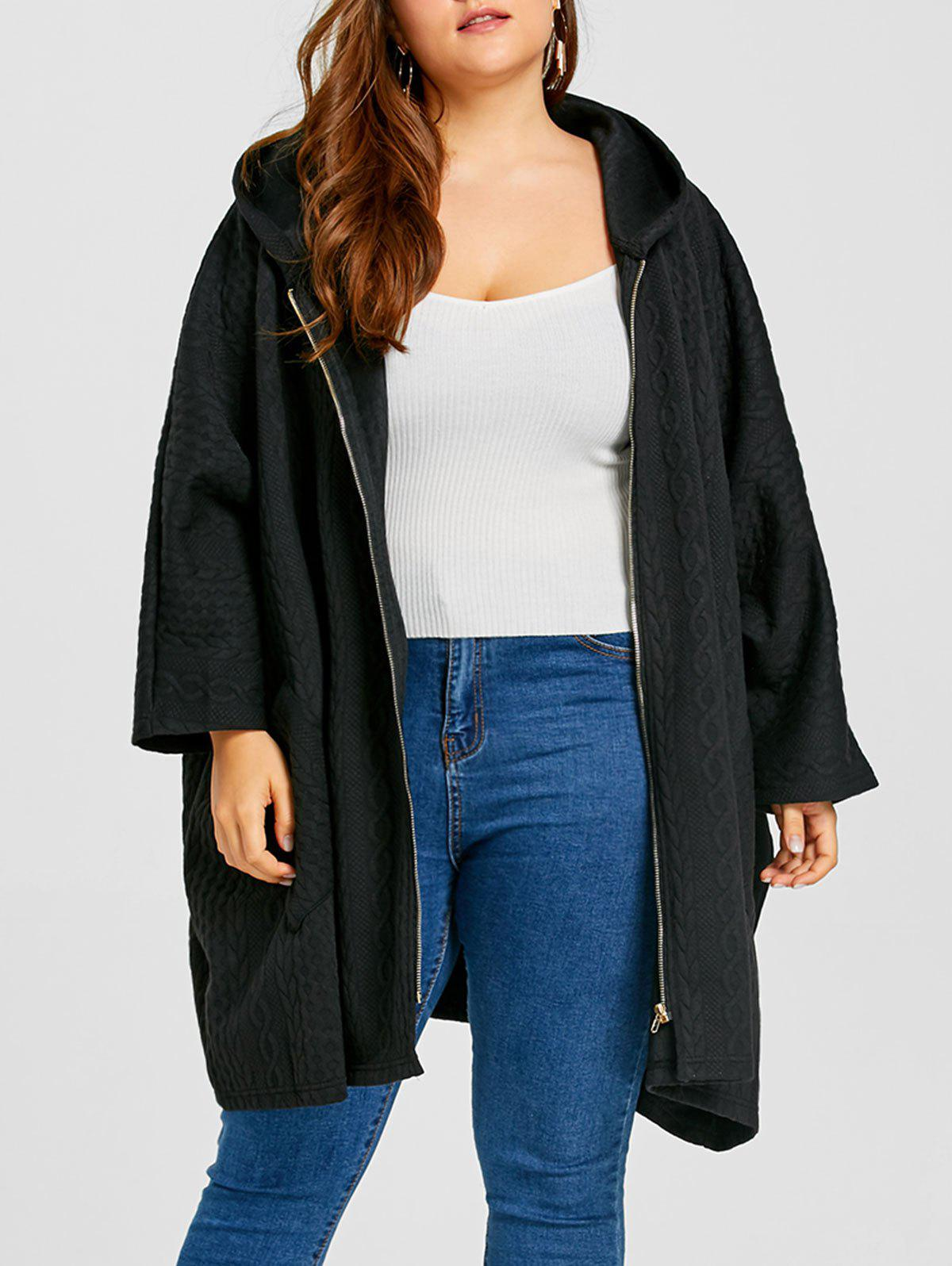 Jacquard Plus Size Zipper Hooded Cloak Coat - BLACK ONE SIZE