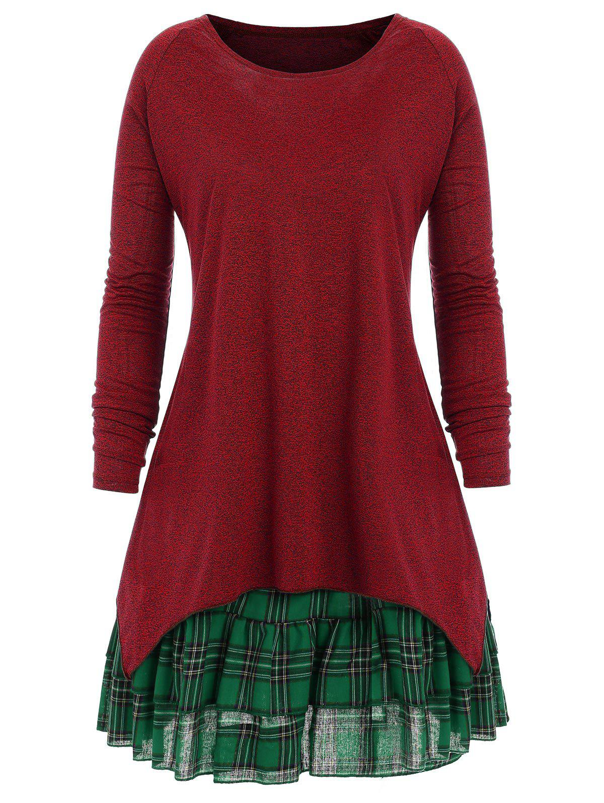 Plus Size Check Two Piece Dress - WINE RED XL