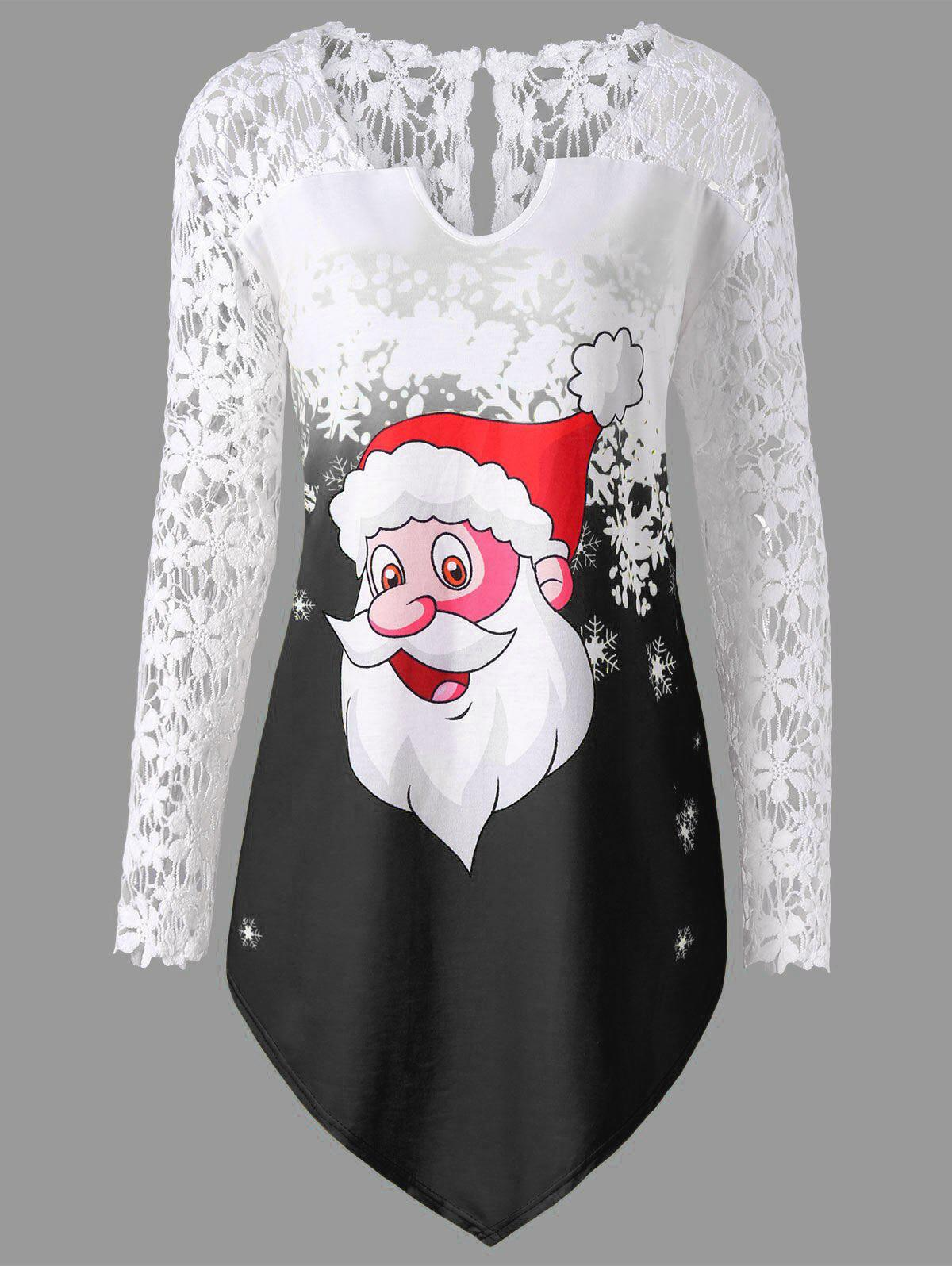 Christmas Plus Size Lace Panel Santa Claus T-shirt sheer lace panel plus size leggings