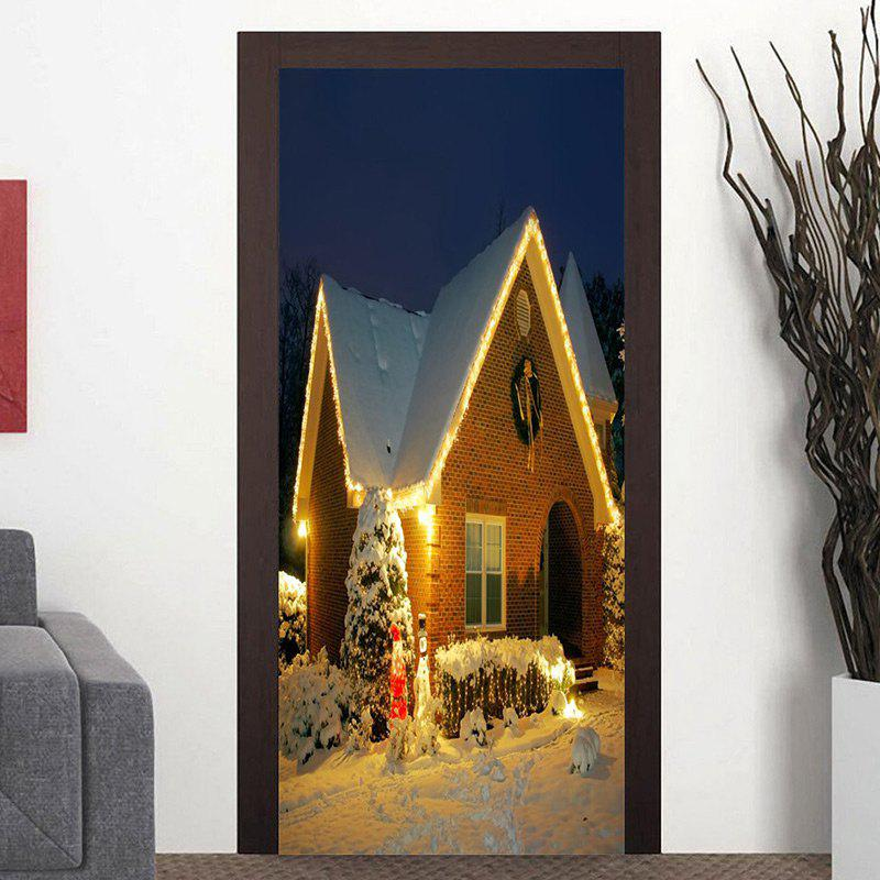 Snow Night Christmas Cottage Pattern Door Art Stickers - COLORMIX 38.5*200CM*2PCS