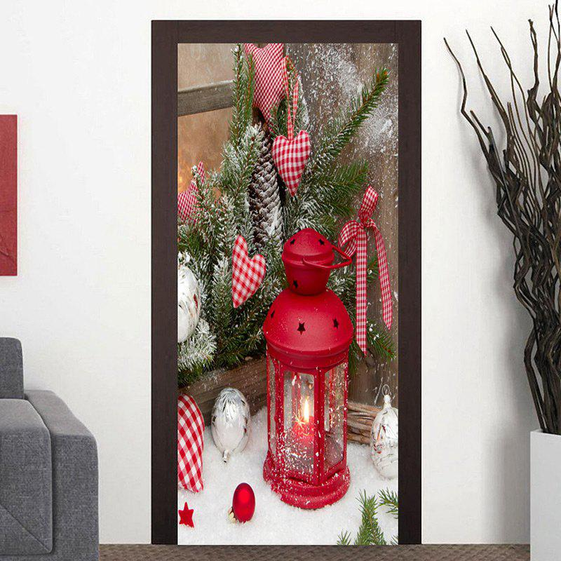 Christmas Candle Lantern Pattern Door Cover Stickers - COLORMIX 38.5*200CM*2PCS