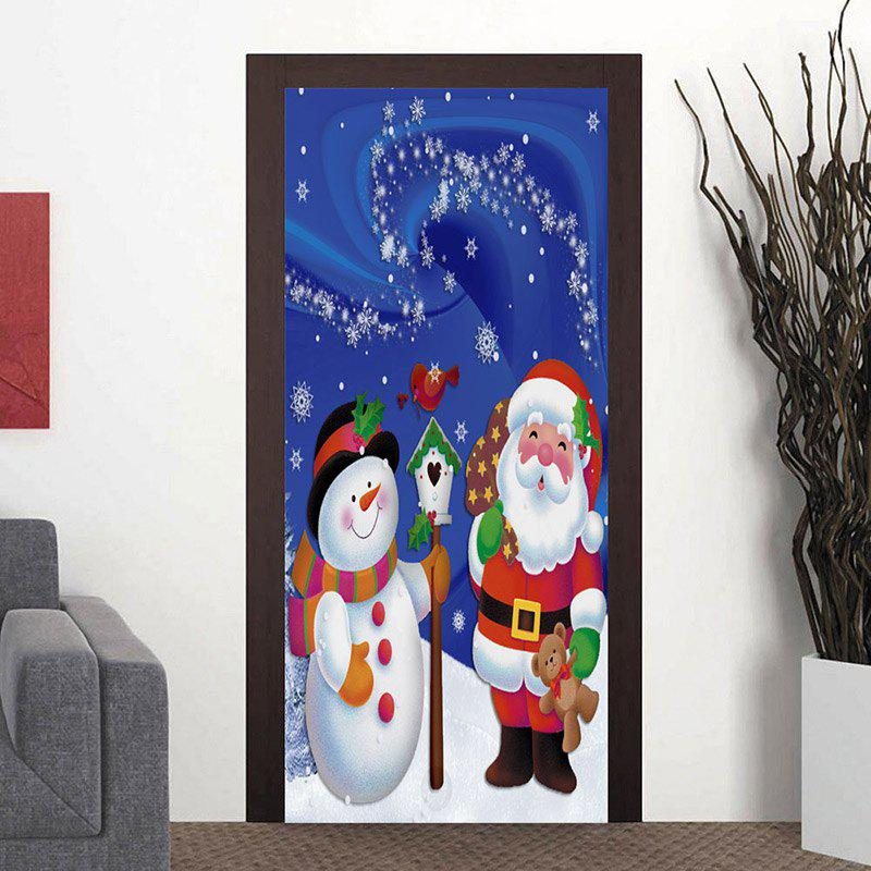 Christmas Snowman and Santa Claus Pattern Door Cover Stickers - BLUE 38.5*200CM*2PCS