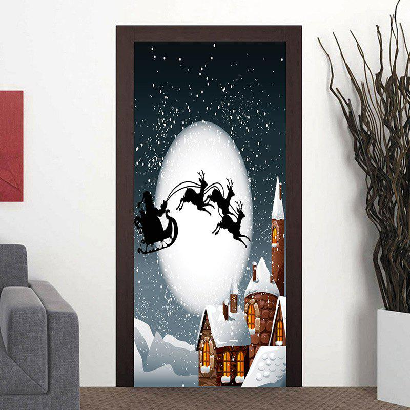 Moon Night Santa Sleigh Pattern Christmas Door Art Stickers - COLORMIX 38.5*200CM*2PCS