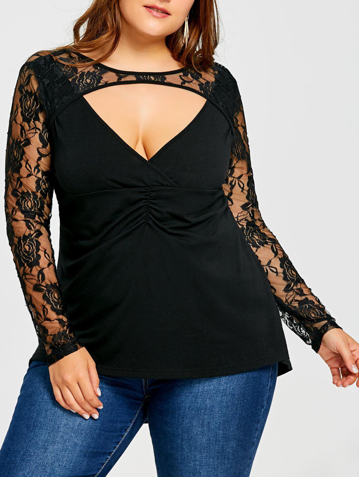 Plus Size Cut Out Lace Panel High Low Top sheer lace panel plus size leggings