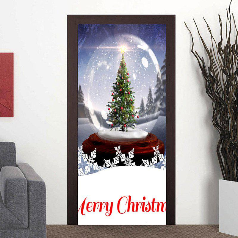 Crystal Ball Christmas Tree Printed Decorative Door Stickers - BLUE 38.5*200CM*2PCS