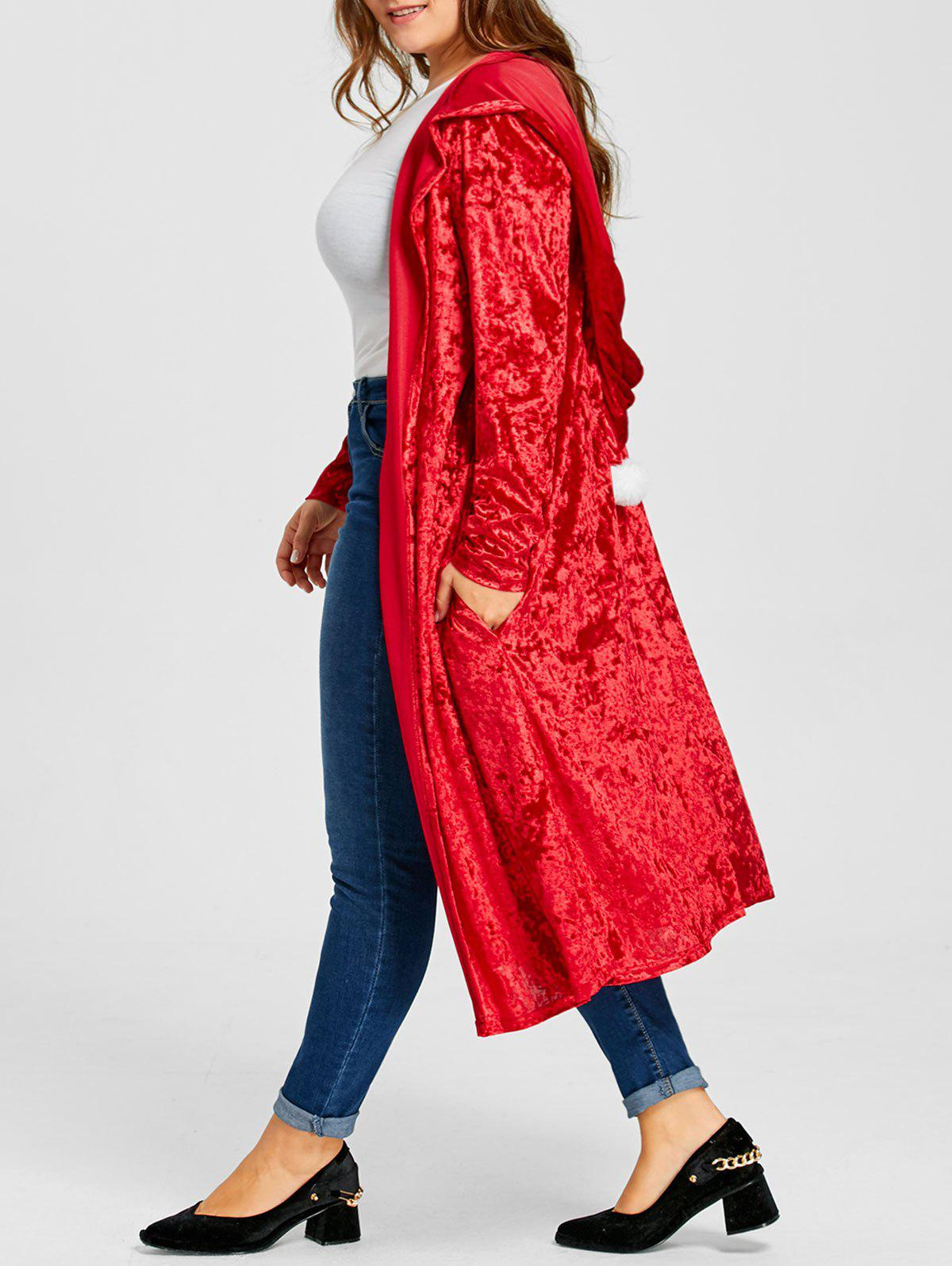 Plus Size Pom Ball Hooded Velvet Maxi Coat - RED 4XL