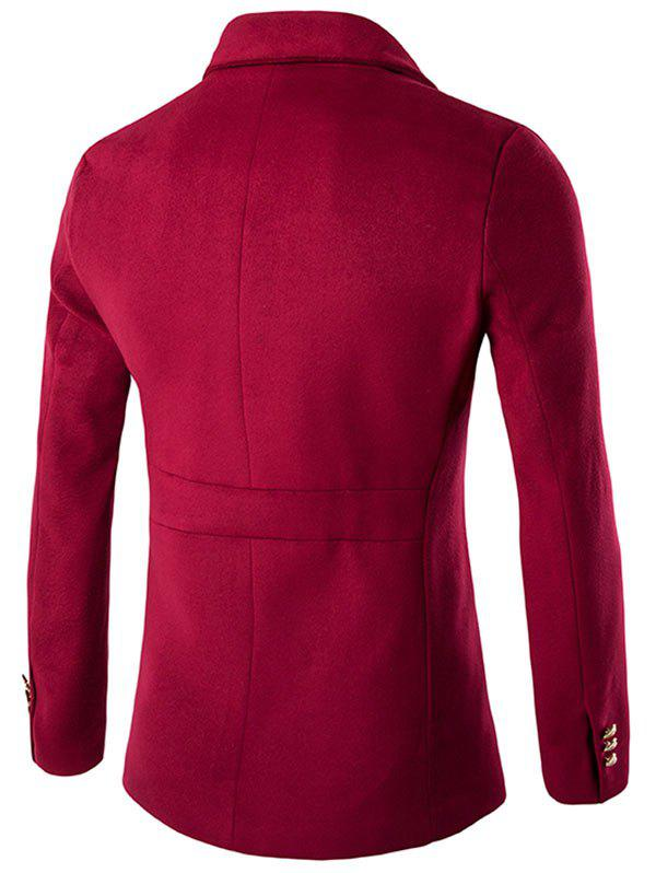 Side Button and Zipper Up Wool Blend Coat - RED M