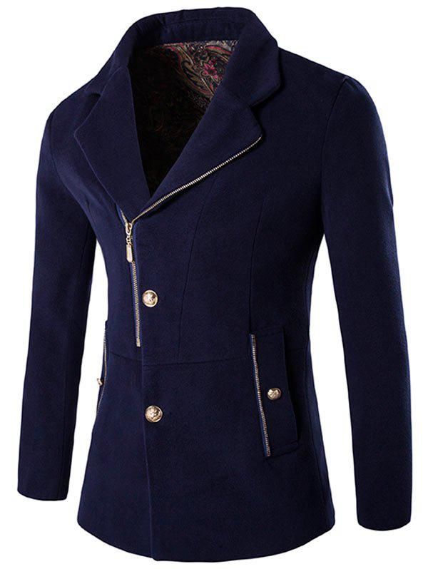 Side Button and Zipper Up Wool Blend Coat - PURPLISH BLUE M