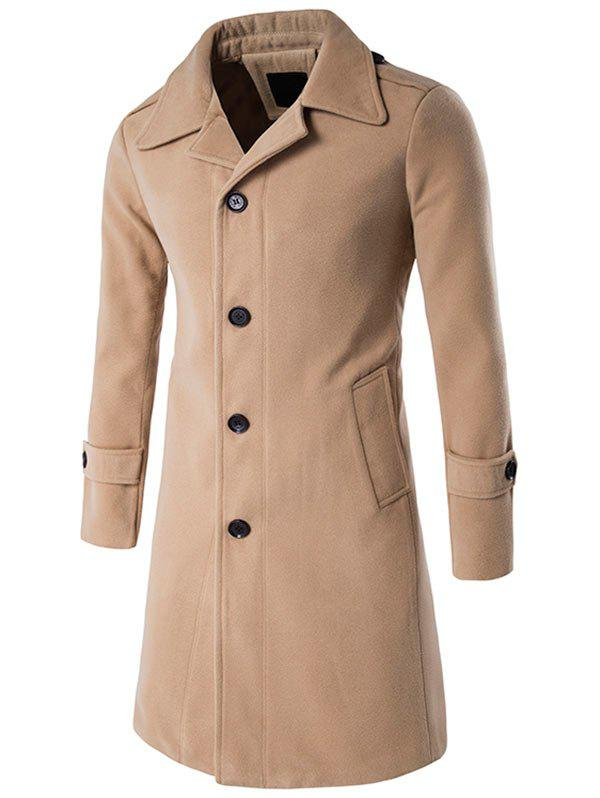 Epaulet Single Breasted Wool Blend Long Coat - KHAKI M