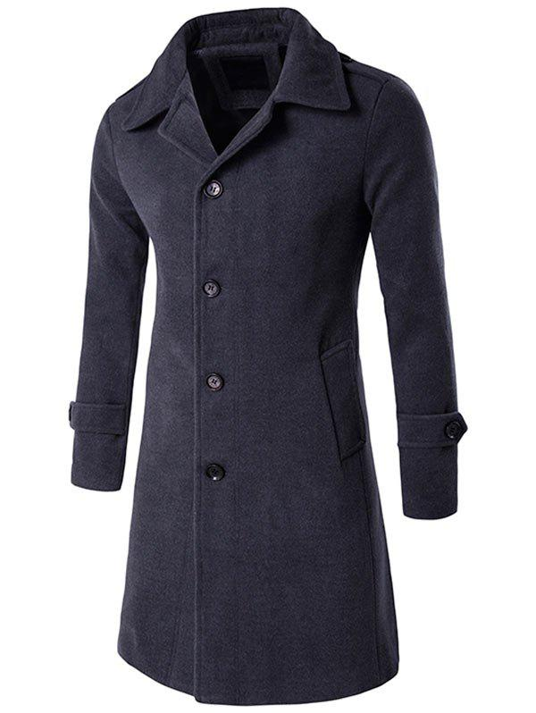 Epaulet Single Breasted Wool Blend Long Coat - DEEP GRAY 2XL