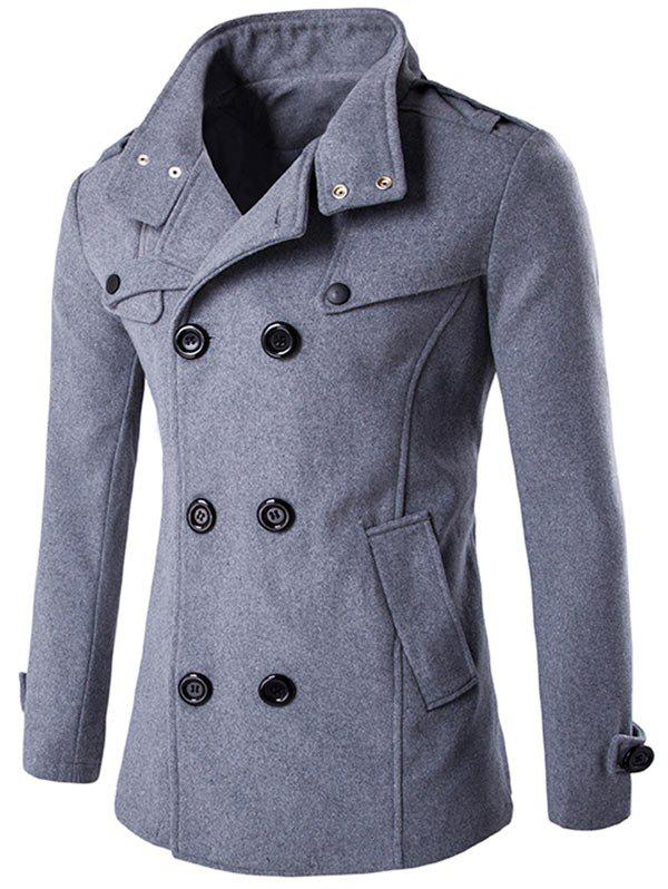 Funnel Collar Double Breasted Epaulet Pea Coat - GRAY XL