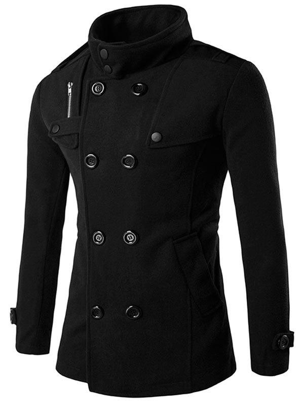 Funnel Collar Double Breasted Epaulet Pea Coat - BLACK L