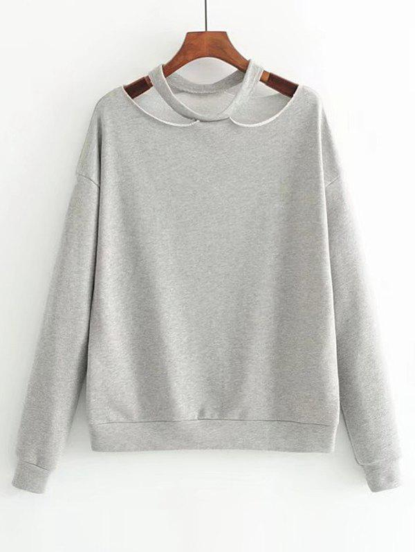 Cut Out Loose Cotton Sweatshirt - GRAY S