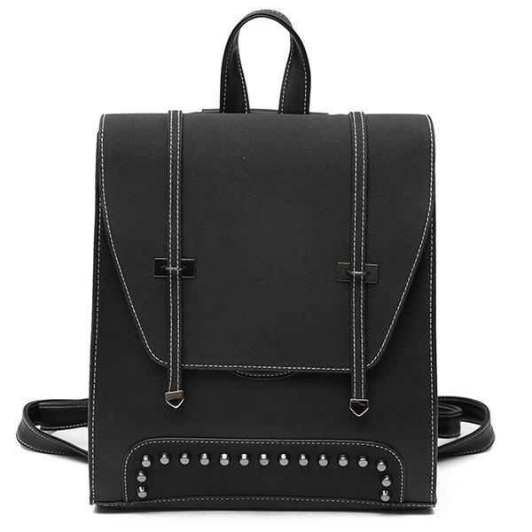 Studs PU Leather Backpack With Handle - BLACK