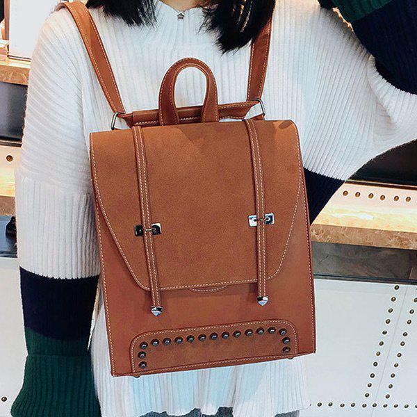 Studs PU Leather Backpack With Handle - BROWN