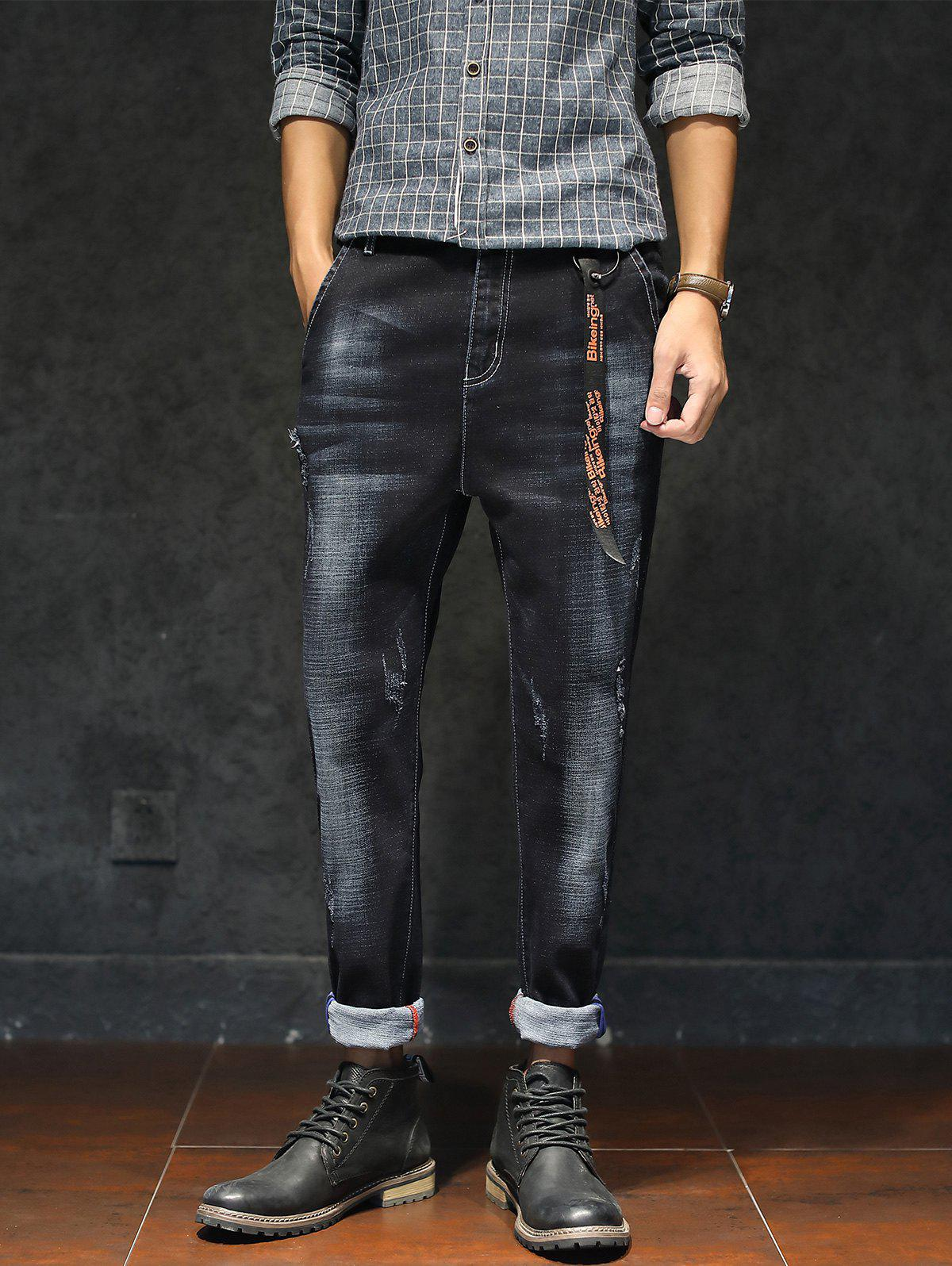 Bleached Braid Embellished Ripped Jeans - BLACK 4XL