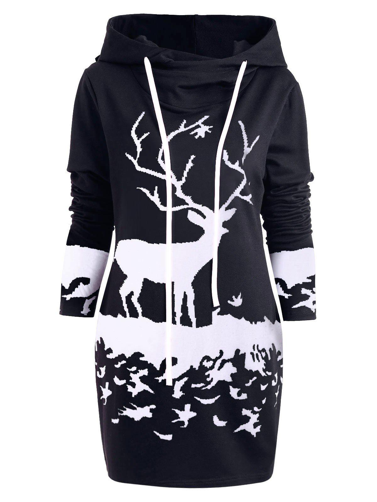 Hooded Monochrome Reindeer Tunic Dress - BLACK M